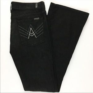 NWT 7 For All Mankind 'A' Pocket Black Flare Jeans
